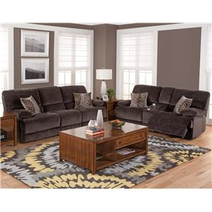 New Classic Idaho Casual Dual Reclining Sofa with Hidden Storage Compartments