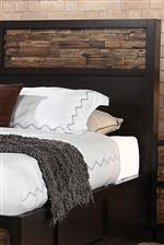 Paneled Headboard with Distressed Wood Accent