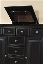 Lift Top with Felt Lined Storage and Vanity Mirror