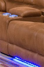 Lighted Base and Cup Holders on the Love Seat