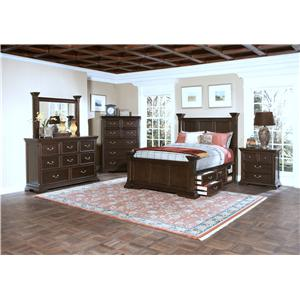 New Classic Timber City California King Captain's Bed with Underbed Storage and Decorative Posts