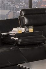Hideaway Tray Table in Seat Back of the Sofa