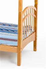 Arched Top and Vertical Slats on Bunk Bed Adding a Mission Style to the Bunk.