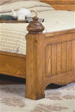 Carved Bed Post and Planking Detailing on Footboard.