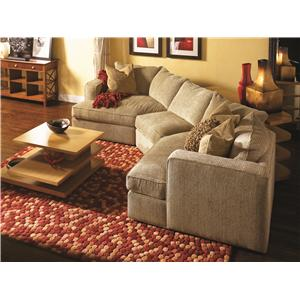 Attractive Norwalk Milford Sectional Sofa With 2 End Angle Chaises And Track Arms