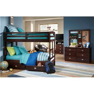 Oak Furniture West University OFW Contemporary Twin Over Twin Stair Bunk Bed
