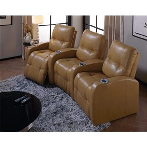 Palliser Auxiliary Transitional 3-Person Manual Theater Seating with Tufting