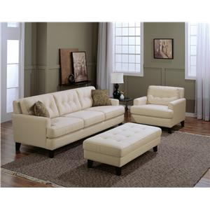Palliser Barbara Transitional Armless Chair with Button-Tufted Back