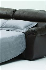 Oversized pillow arms are featured throughout the collection and a pullout sofabed is available