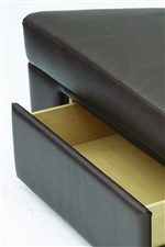 The wedge ottoman offers a hidden storage drawer