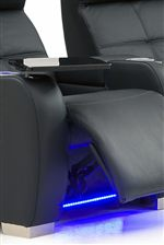 Sleek Pad-over-Chaise Seat with LED Lighting and Swivel Table