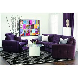 Palliser Push Contemporary Four Seater Sectional Sofa with Button-Tufting