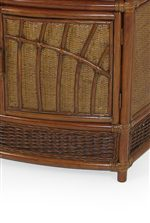 Detail of Finely Crafted Wicker and Rattan Material on the Console Doors
