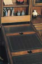 Select Desk Tops Feature Tooled Leather Inserts for both Aesthetics and a More Durable Work Surface