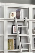 Optional Ladder and Ladder Rail Are Easily Attached to Bookcase