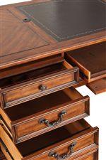 Luxurious Work Tops on Desks Plus Grommet Hole with Cap on Double Pedestal Desk