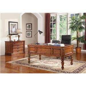Parker House Granada Traditional Writing Desk with Turned Legs and Vinyl Inlay Top
