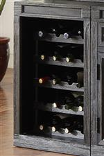 Removable Wine Rack Stores up to Twenty Bottles and can be Replaced by Shelving