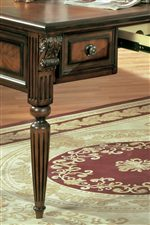 Reeded Turned and Tapered Legs with Carved Acanthus Leaf Details are Found on the Writing Desk