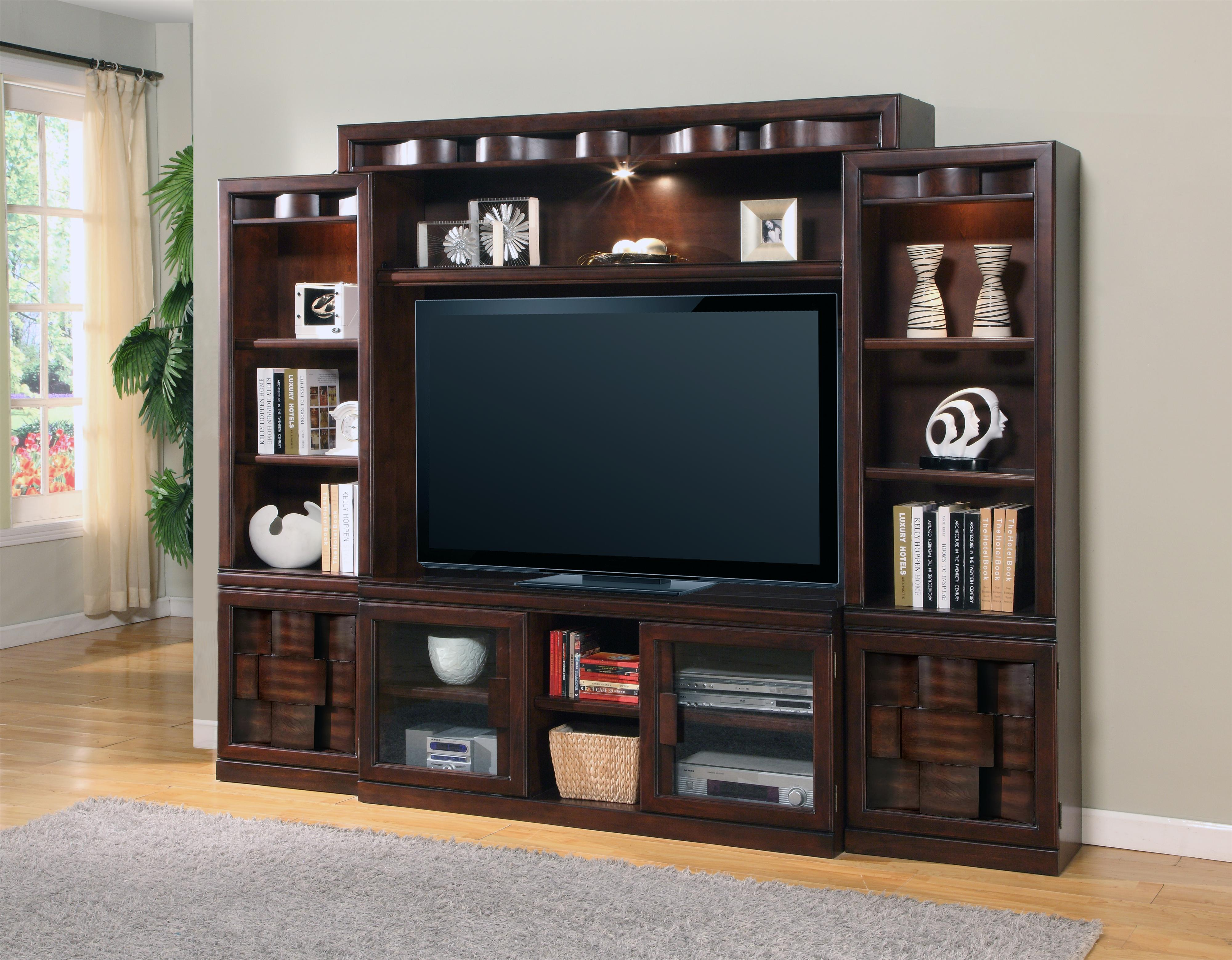 Home Entertainment Wall Units parker house oslo 4-piece stationary entertainment wall with 2