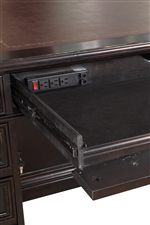 Double Pedestal Desk Features Power Outlet