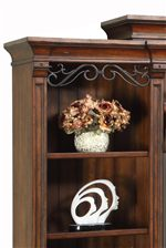 Decorative Crown Moulding and Metal Scrolling Accents