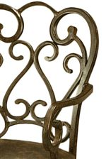 Features Beautiful Scroll Metalwork on Seat Backs with Gently Curved Arms
