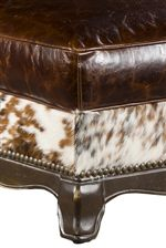 Fine Fabric Upholstery with Exposed Wood Legs and Nail Head Trim, Blend Together, Creating an Eclectic Pallet of Nature Themed Elegance