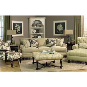 Paula Deen By Craftmaster P709900 Rolled Arm Chair And Ottoman Set