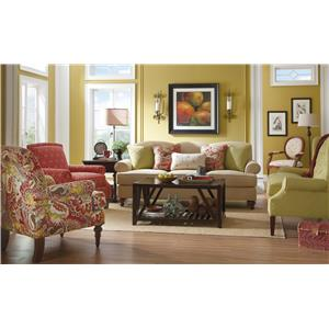 Paula Deen By Craftmaster Paula Deen Upholstered Accents Traditional  Spool Turned Chair With Flange Welt