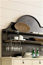 Metal Hutch Frame Highlights Graceful Arching, with Convenient Features like Wood Shelves and Hanging Stemware Storage
