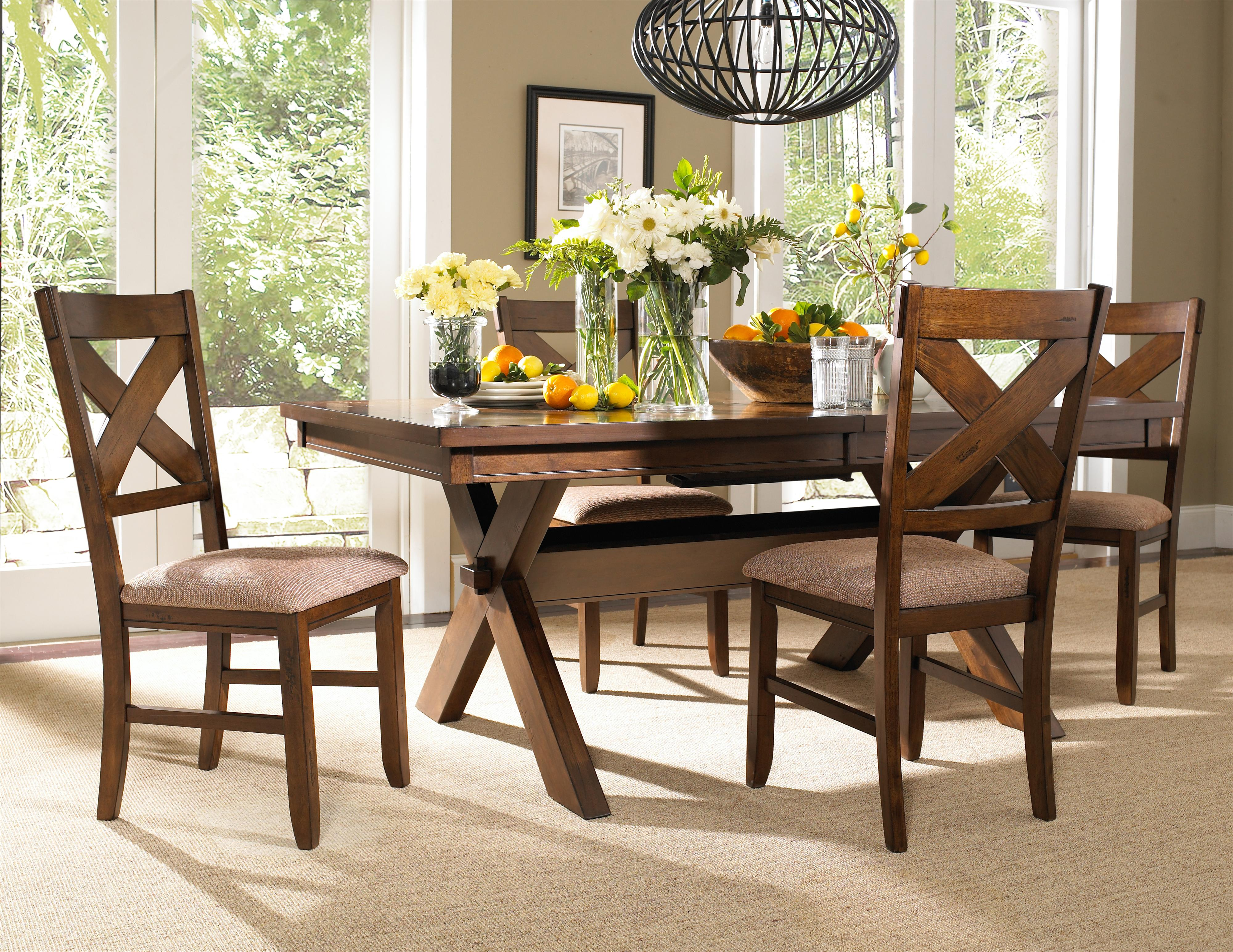 Powell Kraven Dark Hazelnut Dining Side Chair With Beige Upholstered Seat    Wayside Furniture   Dining Side Chairs