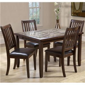 Primo International 2096 5 Piece Rectangular Table & Upholstered Chair Set