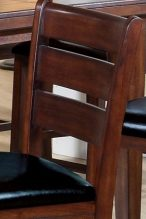 Horizontal Back Slats and Faux Leather Upholstered Seat