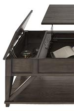 Lift-Top and Hidden Side Storage on Cocktail Table
