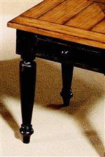 Plank-Like Oak Veneer Tops and Turned Legs in Rubbed Black Finish