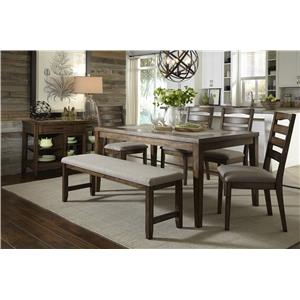 Progressive Furniture Forest Brook 7 Piece Ash Wood and Veneer Dining Table and Chair Set