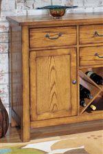 Server with Oak Veneer and Wine Storage