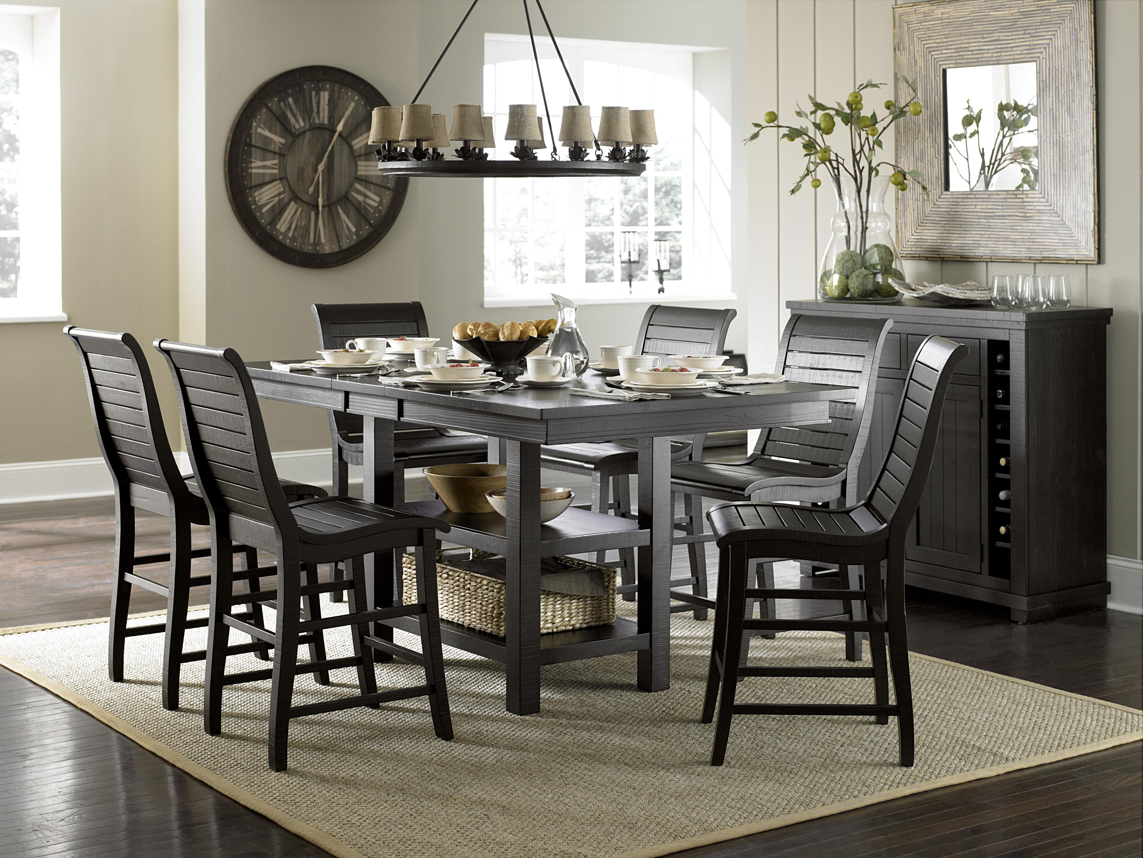 Progressive Furniture Willow Dining 5-Piece Round Counter Height Table Set with Uph. Counter Chairs | Wayside Furniture | Pub Table and Stool Sets & Progressive Furniture Willow Dining 5-Piece Round Counter Height ...