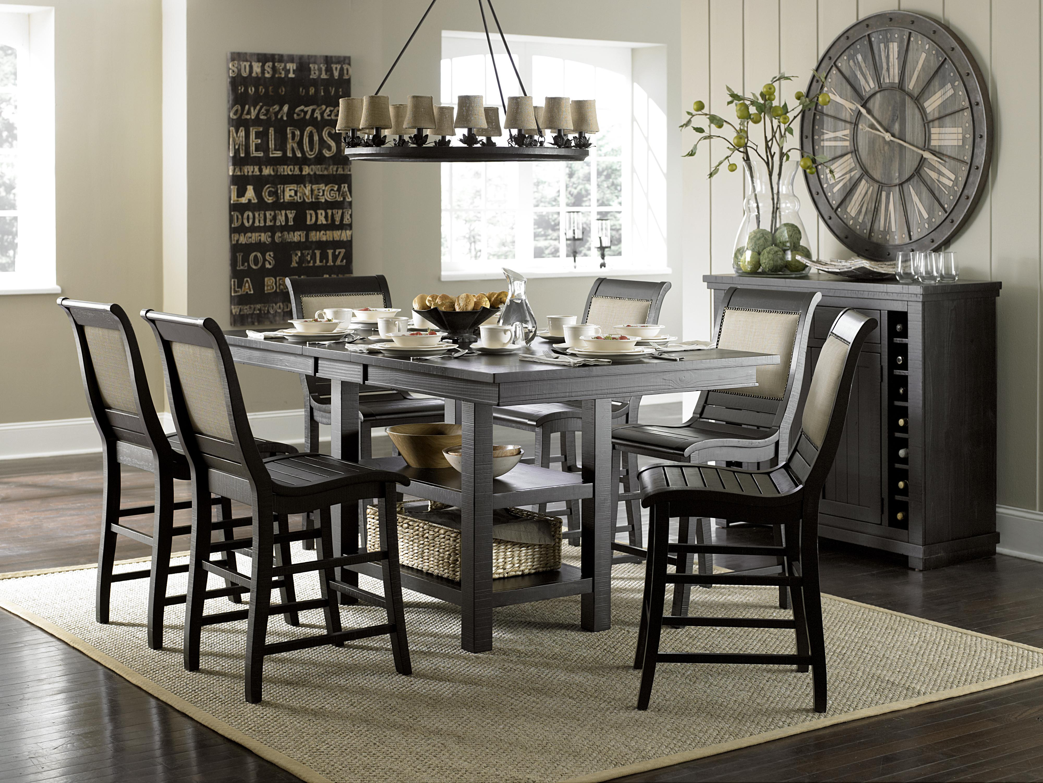Distressed black dining room table - Progressive Furniture Willow Dining Distressed Finish Rectangular Counter Height Table With 2 Shelves Wayside Furniture Pub Tables