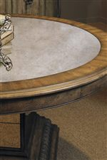 Aphrodite Round Table Features a Beautiful Antiqued Mirror Inset Top
