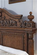 Bed Features Turned Posts with Floral Carvings and Reeding