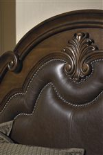 Arched Headboard with Upholstered Leather and Nailhead Accents