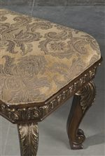 Upholstered Floral Seat with Gold-Toned Cabriole Leg with Leaf Detail