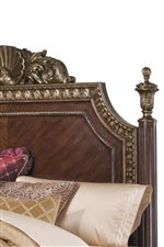 Fluted, Finial-Topped Bed Headboard with Gold-Toned Trim