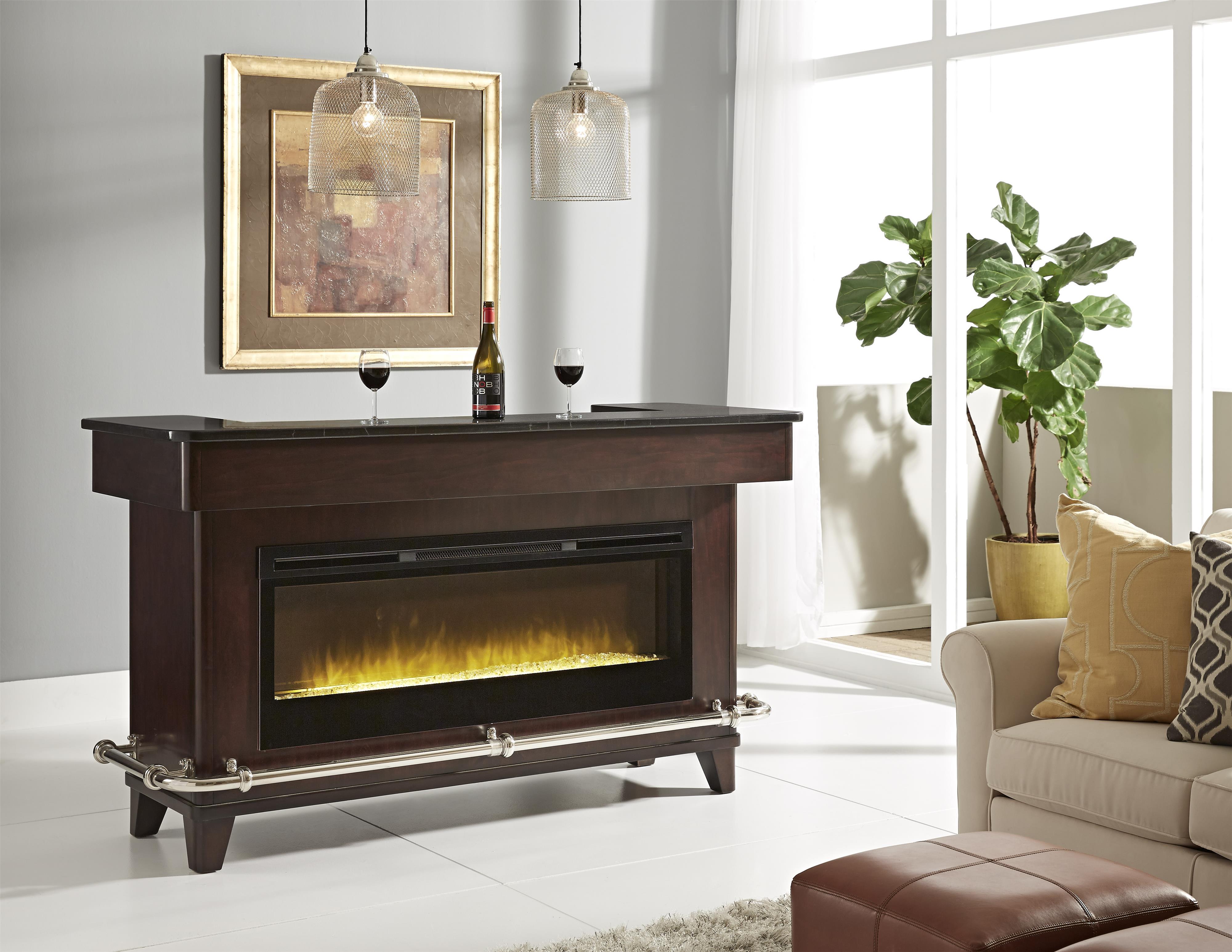 pulaski furniture evo black granite bar w electric fireplace