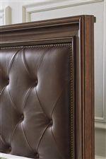 Genuine Leather Button Tufted Headboard