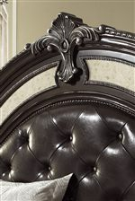 Elegant Shell Motif and Upholstered Panel with Crystal Button Tufting on Collection Headboards