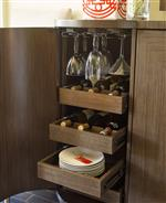 Stemware Holders and Pull-Out Trays for Unique Storage Convenience