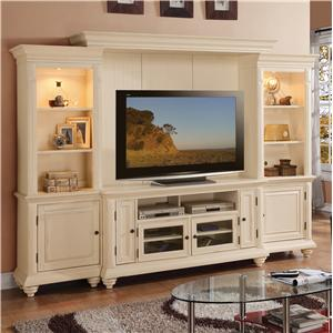 Riverside Furniture Addison Cottage Theater Wall with Two Piers and a Center Console